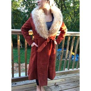 Jackets & Blazers - Women's suede sherpa lined long coat